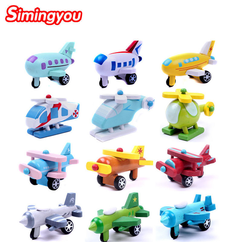 Simingyou Wooden Movable Small Aircraft Children Toys 12 Piece Combination Plane Model Toy A Pack Of 12pcs B40-32 Drop Shipping simingyou kids toys colored wood double sided magnetic children drawing board montessori c20 q 15 drop shipping