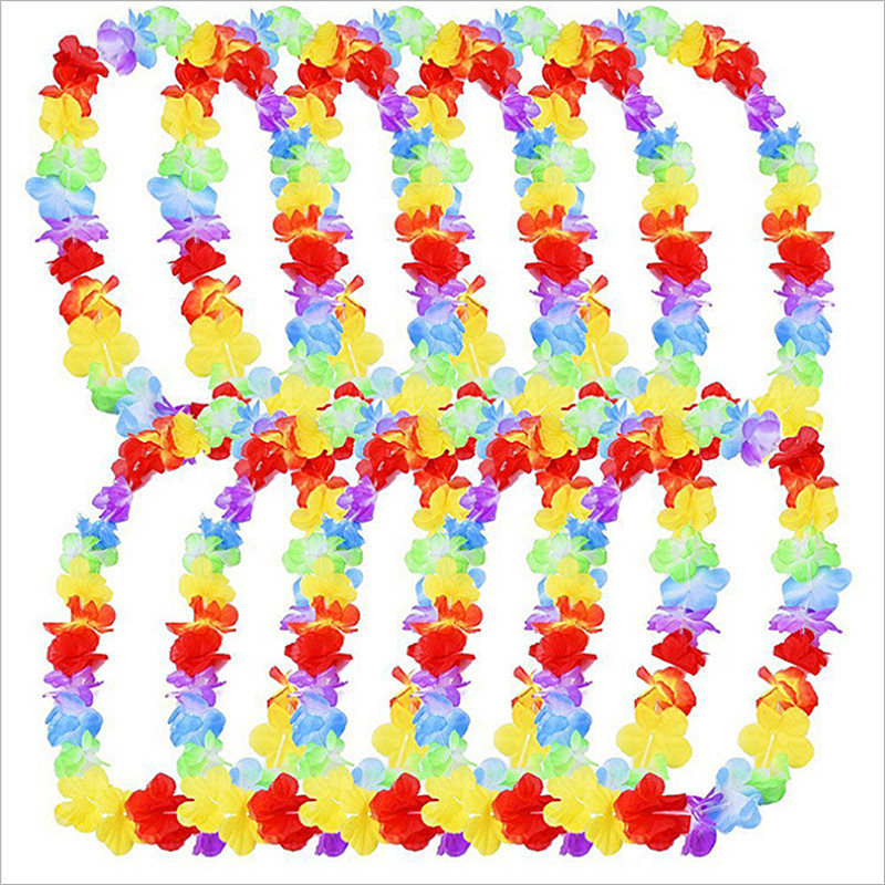 20Pcs Hawaiian Flower leis Garland Necklace Pool Party Fancy Dress Hawaii Beach Fun Flowers DIY Party event Decoration Wreath20Pcs Hawaiian Flower leis Garland Necklace Pool Party Fancy Dress Hawaii Beach Fun Flowers DIY Party event Decoration Wreath