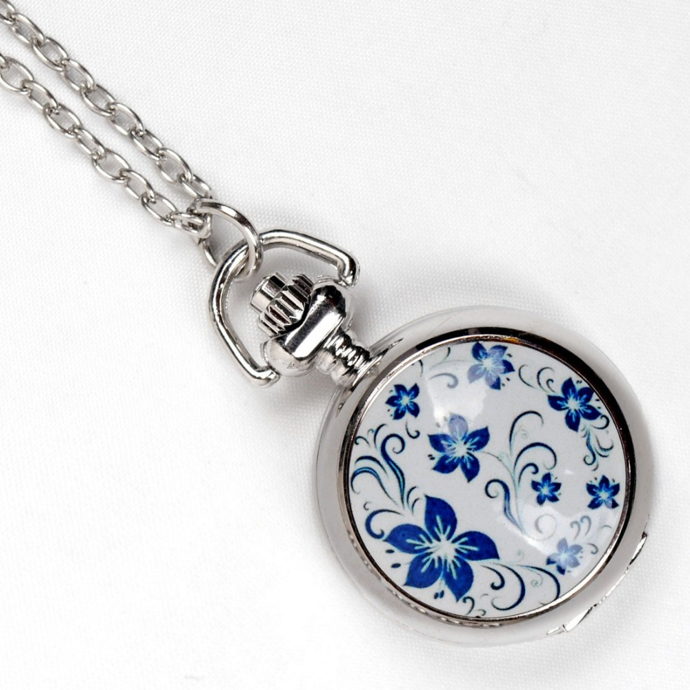6139   Ceramic Moran Glass Pocket Watch Silver Delicate Cute Women Gift FOB Quartz Watch