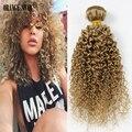 Перуанский Русый Девы Волос в Светлые Вьющиеся Переплетения 1 Шт. Платиновая Блондинка Вьющиеся Волосы Утка 27 # Светло-Коричневый Блондин Человека волосы WeaveGJ112