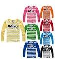 100% algodão T camisa 2016 rato dos desenhos animados meninos meninas crianças manga comprida bordado camisetas meninos roupas