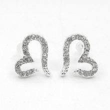 Heart Stud Earring For Women Silver Plated Earings Crystal Zircon Rhinestone Love Statement Charm Ladies Fashion Ear Jewelry(China)