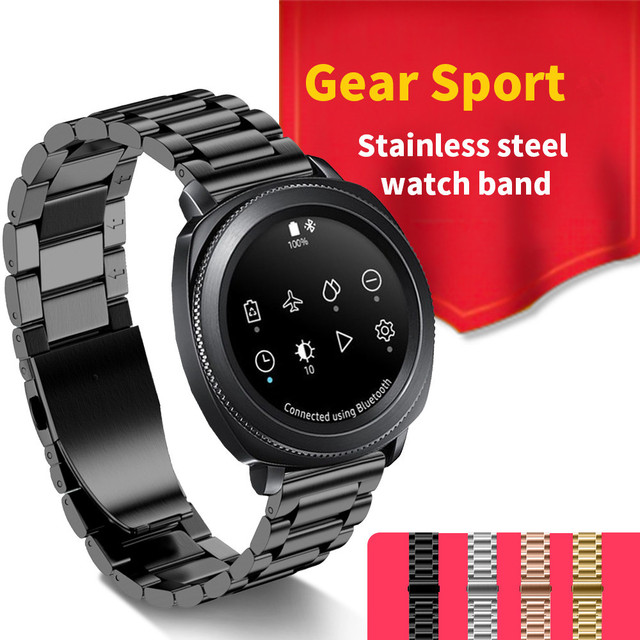 New style three link steel watch band for samsung gear sport stainless steel metal strap for for Watches gear