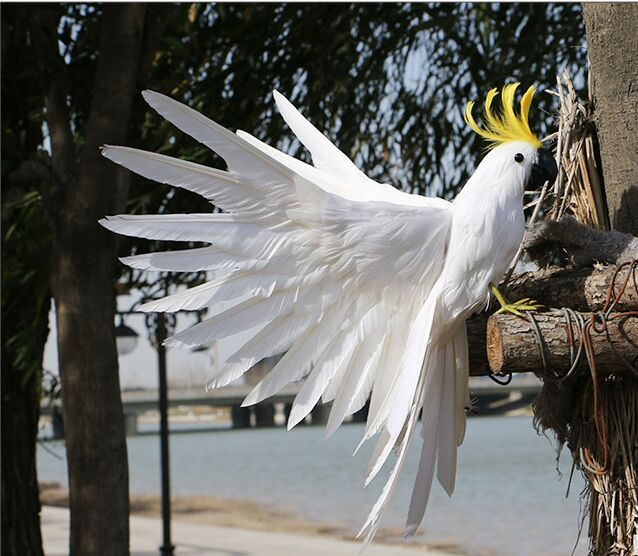 new simulation white parrot toy foam furs wings parrot bird model gift about 35x50cm 3007