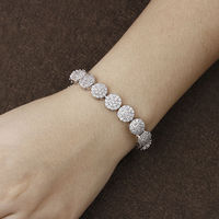 Classical Round Bracelet With Tiny Cubic Zirconia Snap Bracelets For Women Gift White Gold Color Bracelet
