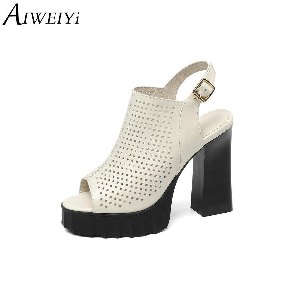 AIWEIYi bottes d'été pour femmes en cuir de vache Peep toe Ultra hauts talons bottines Slingback talons hauts bottines pour femmes