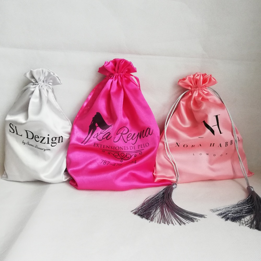 500pcs lot Satin Drawstring Bags Smooth and Comfortable Material for Gifts and Jewelry Wig Packaging Pouch