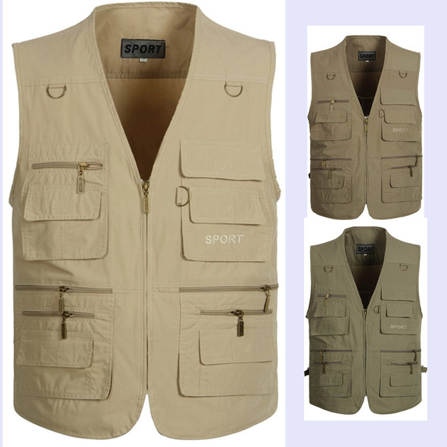New Spring Summer Men Plus Size Cargo Zipper  Vest With Many Pockets Men's Casual Waistcoat Free Shipping A067