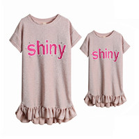Family Mother Daughter Matching Dresses Mommy And Me Clothes Elegant Wedding Family Look Set Children Summer