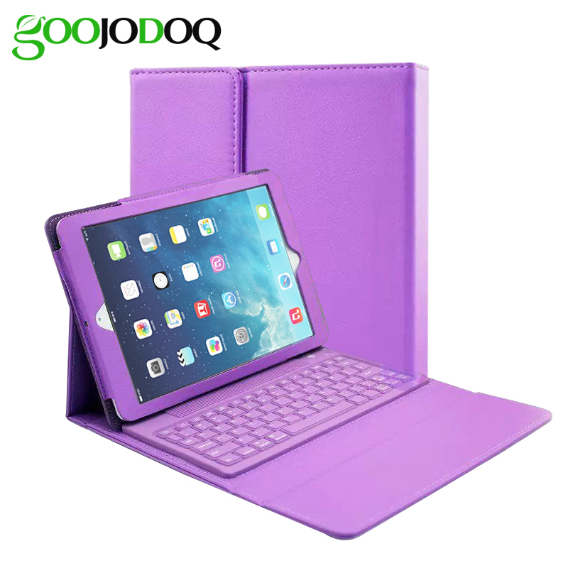 For iPad Air 2 Air 1 Keyboard Case, PU Leather Protective Folio Cover Coque Stand for iPad Air / 5 6 with Bluetooth Keyboard
