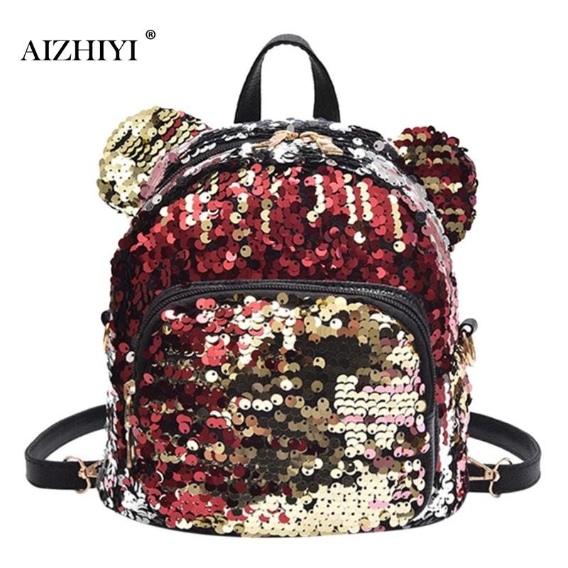 Shining Sequins Backpacks Women Bear Ears Mini Girls Shoulder Travel Bags Casual Leisure Backpack Student Schoolbag Fashion