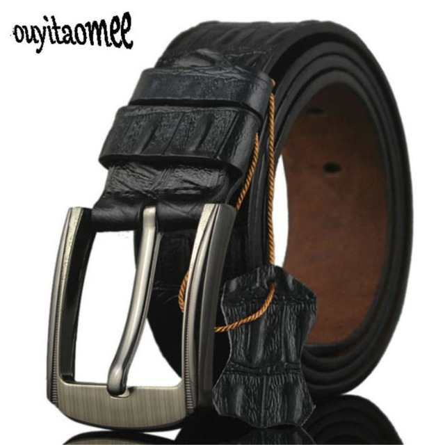 Ouyitaomee Leather Belts Men Pin Buckle Male Waistband Black Genuine Leather Embossed Men's Belt 3.8cm Width Gift For Man