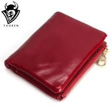 New Fashion TAUREN High Quality 100% Genuine Leather Women Mini Wallet Oil Wax Leather Coin Purse Coin Credit Card Holder