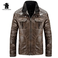 New Men's Brand Washed Leather Jacket Fashion Retro Thicken Motorcycle Leather Jacket Men Winter Plus Size Leather Coat E8F001