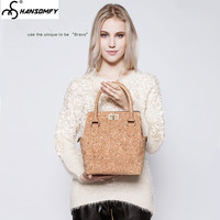 Original Women bucket bag hand strap female cork wood shoulder Bag tide handbag casual simple fashion lady messenger bag