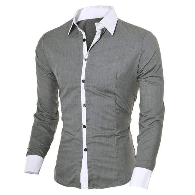 2018 Mens Geometric  Personality Men's Casual Slim Long-sleeved Shirt Top Blouse Business Brand  Blouse Dropshipping 1J18*