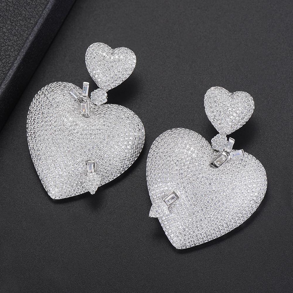 44*60 MM Fashion Dangle Earrings For Women Heart Shape Full Cubic Zirconia Inlaid Bridal Jewelry Drop Earrings Dangle Earrings все цены