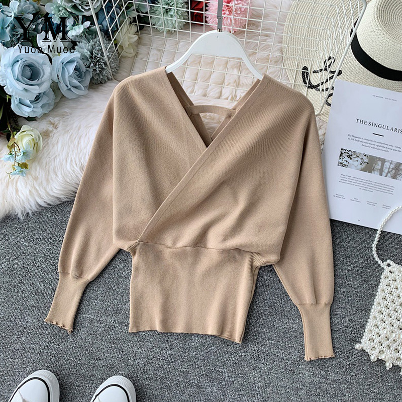 YuooMuoo 2019 New Sexy V-neck Sweater Women's Batwing Long Sleeve Pullover Casual Elegant Sweaters Female Soft Bottoming Shirt