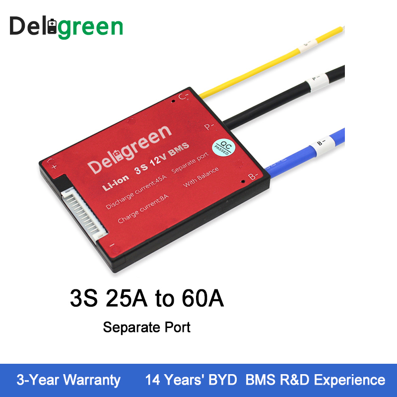 Deligreen 3S 25A35A45A60A 12V PCM/PCB/BMS for 3.7V lithium battery pack 18650 Lithion LiNCM Li-Polymer Battery Pack lp1300 3s 20 11 1v 1200mah lithium polymer battery for r c helicopter black