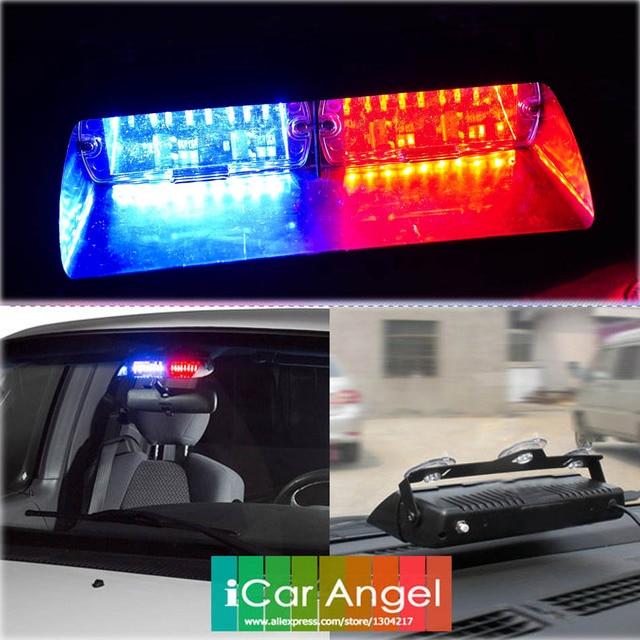 1pc 48W Windshield Led Strobe Light S2 Viper Car Flash Signal Emergency Fireman Police Beacon Warning Light Red Blue Amber White