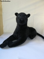 simulation black panther plush toy about 45cm lying panther soft doll birthday gift s2039