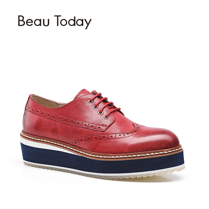 BeauToday Brogue Shoes Women Spring Autumn Flat Platform Genuine Sheepskin Leather Round Toe Casual Oxfords ladies Shoes 21027 qmn women crystal embellished natural suede brogue shoes women square toe platform oxfords shoes woman genuine leather flats