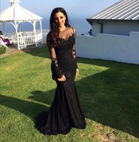 2017 Black Sexy Mermaid Prom Dresses Sheer Neck Long Sleeves Backless Floor Length Party Gowns Custom