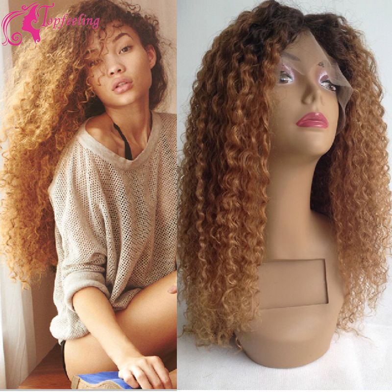 Two Tone Ombre Human Hair Lace Front Wig Afro Kinky Curly
