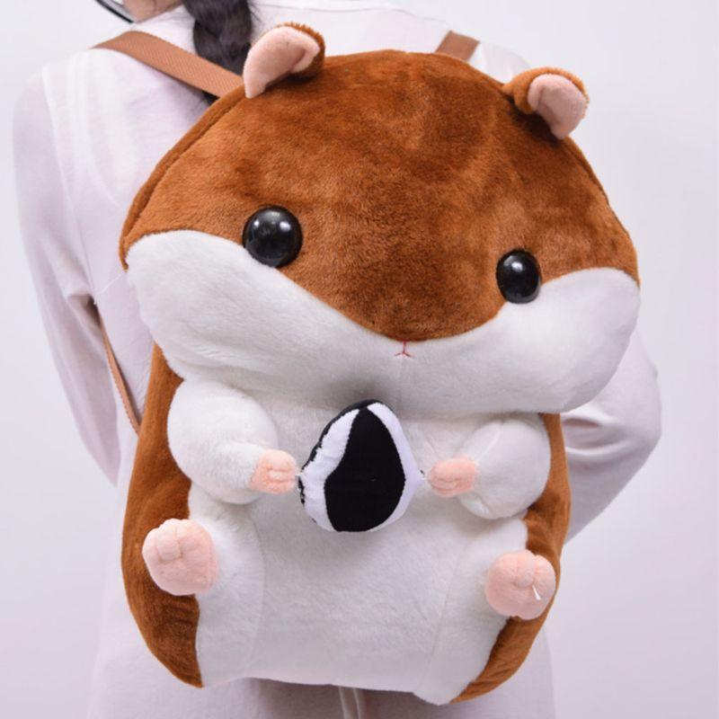 THINKTHENDO 2019 Lovely Plush Animals School Bag Children Stuffed Hamsters Doll Backpack Kids Girls Boys Stuffed Shoulders Bag