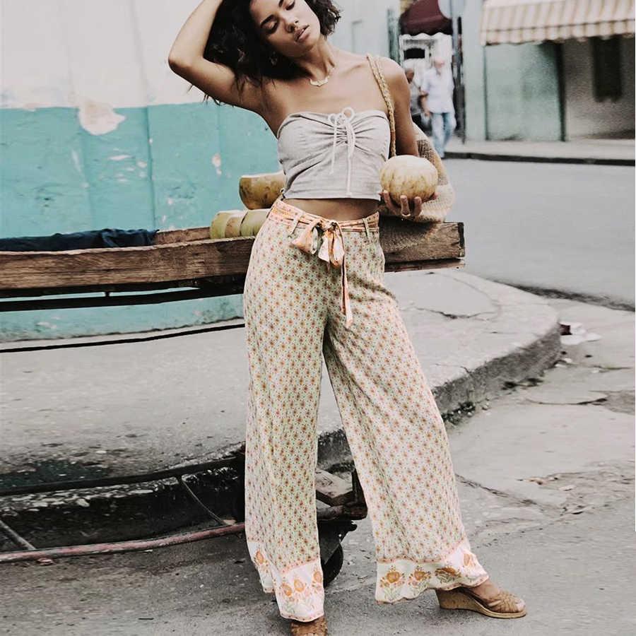 TEELYNN широкие длинные летние женские брюки 2019 зеленый вискозный цветочный принт с высокой талией с регулируемым поясом Цыганские брюки бохо