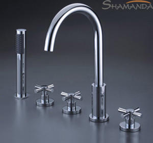 Mixer Shipping-Bathroom-Products Bathtub Faucet 5pieces-Faucet-Set Chrome-Finished Brass