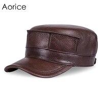 HL059 Genuine Leather Men Baseball Cap Hat Brand New Men S Real Leather Adult Solid Adjustable