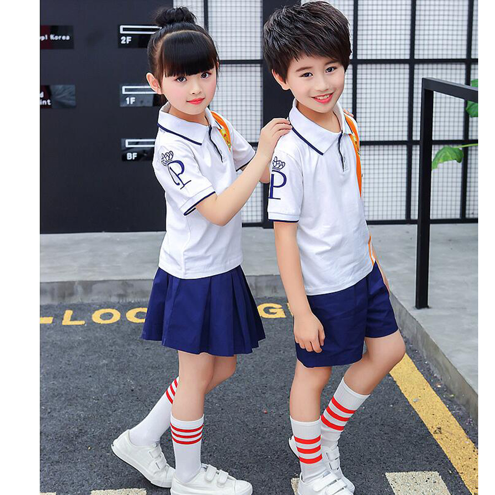 Children Japanese Korean School Uniforms Girls Boys Kids Junior High Outfit Girl 10 Korea Student Summer Clothes Outfits White Tops Navy Skirt In From