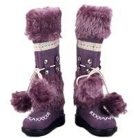 1/4สีม่วงสังเคราะห์F Auxขนหนังรองเท้าตุ๊กตารอง