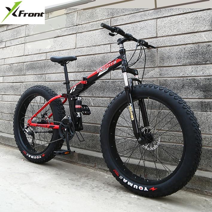 Новое X-спереди бренд 24/26 4,0 жира колесо 7/21/24/27 скорость четыре ссылка мягкие хвост каркас складной горный велосипед Горные MTB велосипеда