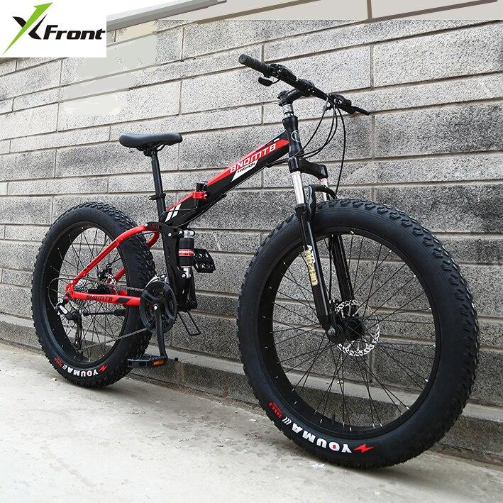 Di trasporto del nuovo X-Front di Marca 24/26 4.0 fat tire ruota 7/21/24/27 velocità A quattro collegamento telaio coda morbida pieghevole mountain bike downhill MTB della bicicletta