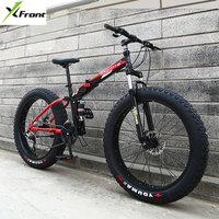New X Front Brand 24/26 4.0 fat tire wheel 7/21/24/27 speed Four link soft tail frame folding mountain bike downhill MTB bicycle