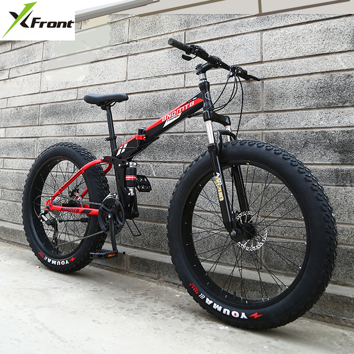 New X-Front Brand 24/26 4.0 fat tire wheel 7/21/24/27 speed Four-link soft tail frame folding mountain bike downhill MTB bicycle image