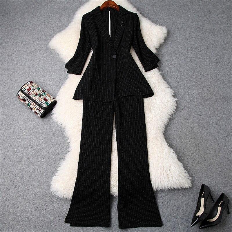 2019 printemps Designer femmes OL 2 pièce ensemble élégant col cranté un bouton rayé Blazer + Flare pantalon costume ensemble travail porter tenue