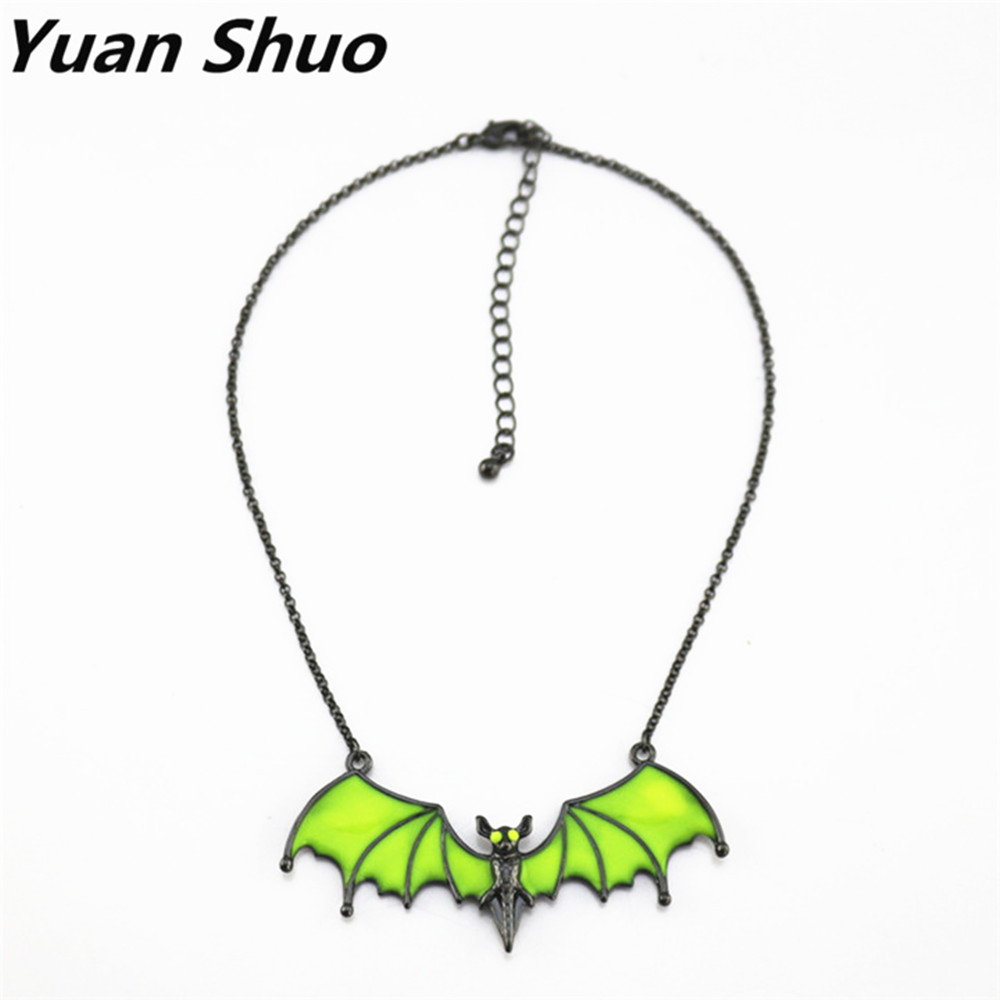 Europe United States foreign trade jewelry wholesale fashion new fluorescent yellow enamel Cute bat short necklace