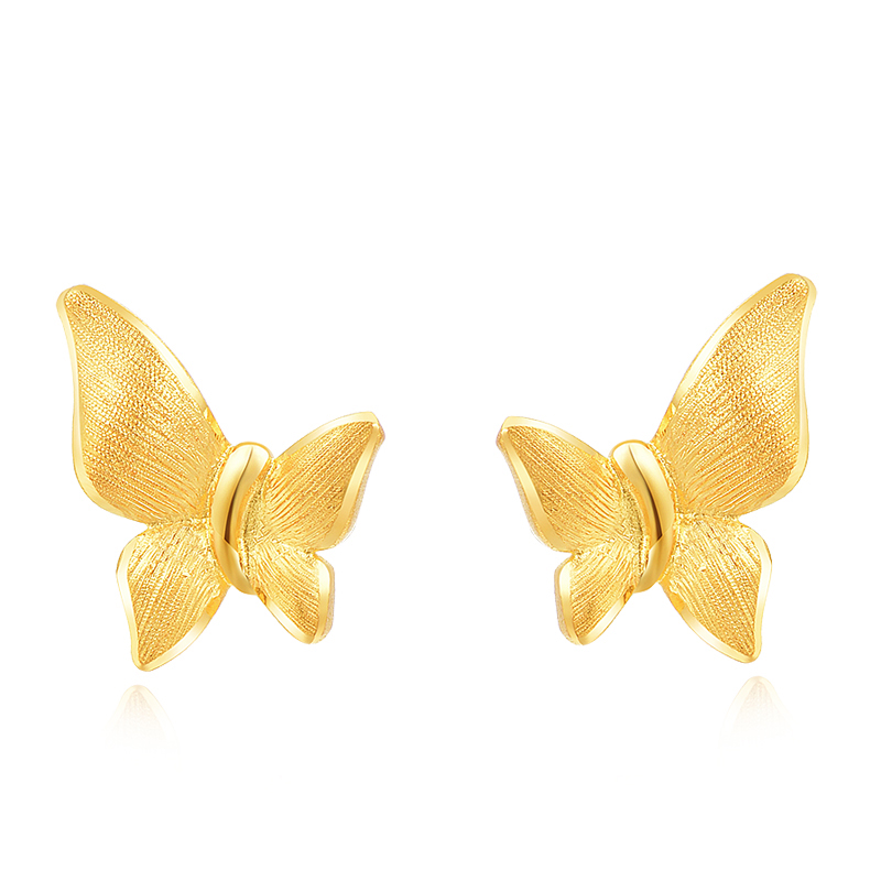 New Arrival 999 Yellow Gold Butterfly Stud Earrings 1.34gNew Arrival 999 Yellow Gold Butterfly Stud Earrings 1.34g