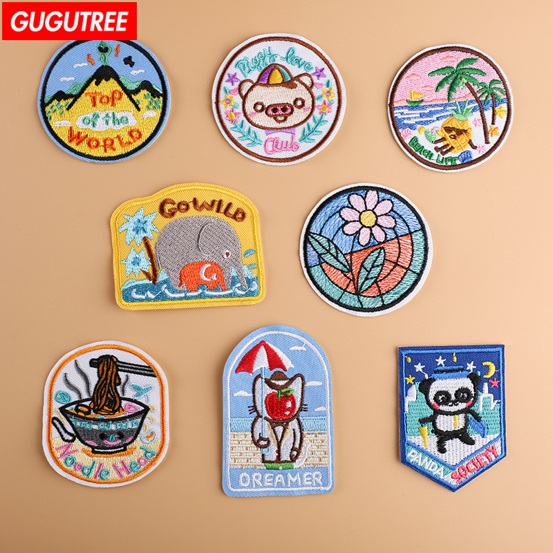 GUGUTREE embroidery animal patches cartoon baby badge embroidered appliques for denim jeans