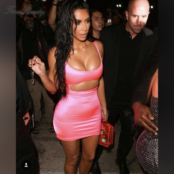 Tina Beauty Kim Kardashian Strapy Sleeveless Pink Dress Sexy Smooth Cut Out Satin Club Night Party Dress for Women