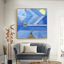 Abstract acrylic painting blue gold texture canvas Geometric quadro Wall Art pictures for living room home cuadro decor