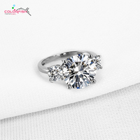 COLORFISH Luxury 925 Sterling Silver Three Stone For Women Prong Set Big Round Cut 5.75 Ct SONA Rings Engagement Wedding Ring