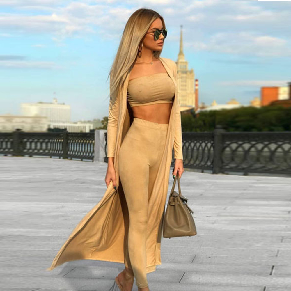 Women's Clothing Tosheiny 2019 Women Sexy Deep V Long Sleeve Two Pcs Set Female Casual Playsuit Th9275