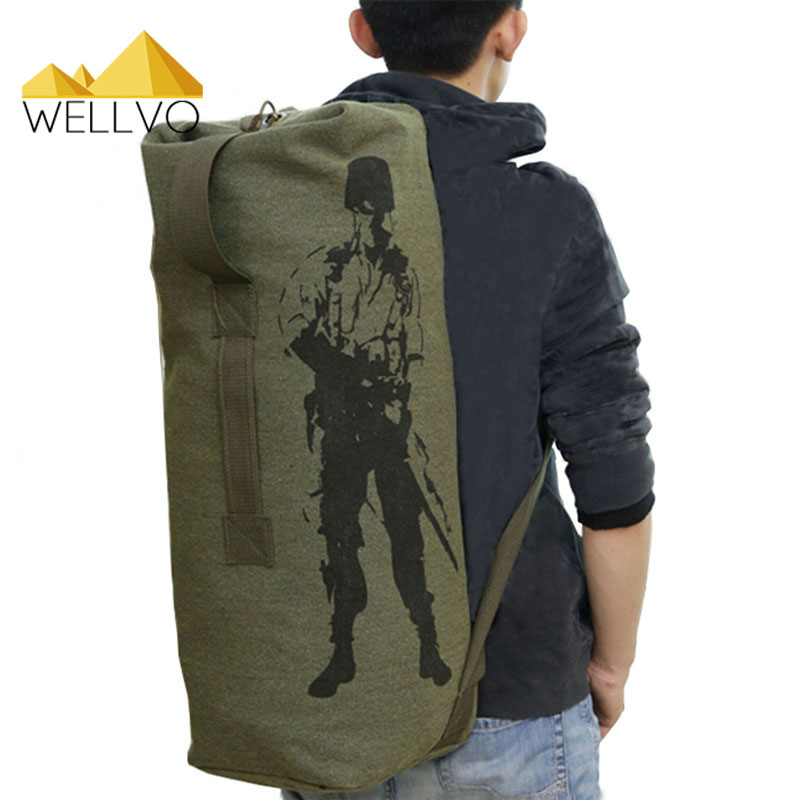 Men's Travel Luggage Bag Army Bucket Backpack Multifunctional Military Canvas Backpacks Casual Duffle Shoulder Bags Green XA820C