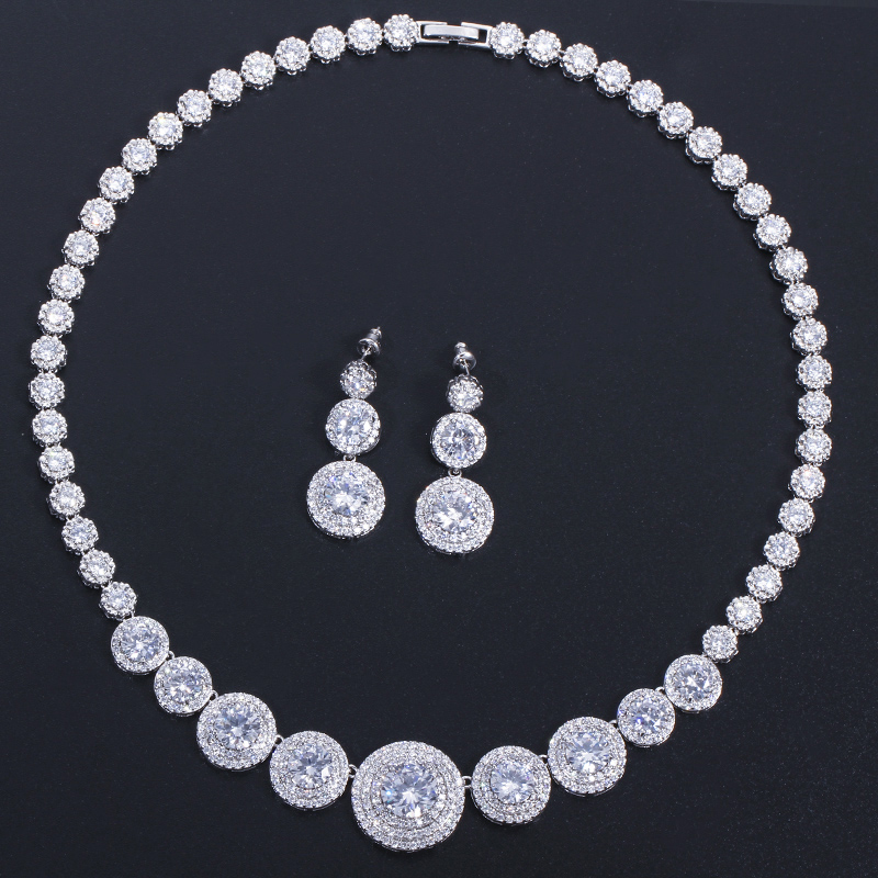 Image 3 - CWWZircons Gorgeous African Cubic Zirconia Luxury Dubai Arab Gold  Color Filled Wedding Necklace Earrings Jewelry Sets T319Bridal Jewelry  Sets