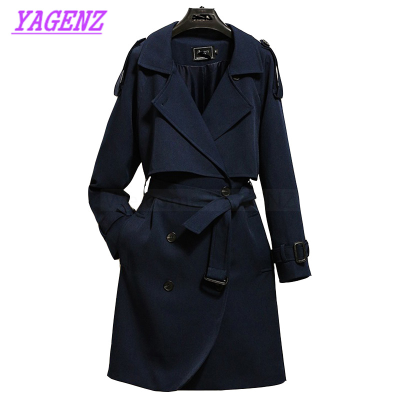 New 2017 Autumn Winter Windbreaker coat Women Fashion Slim Long   Trench   coat Young women Upscale Hooded Overcoat Dark blue B279