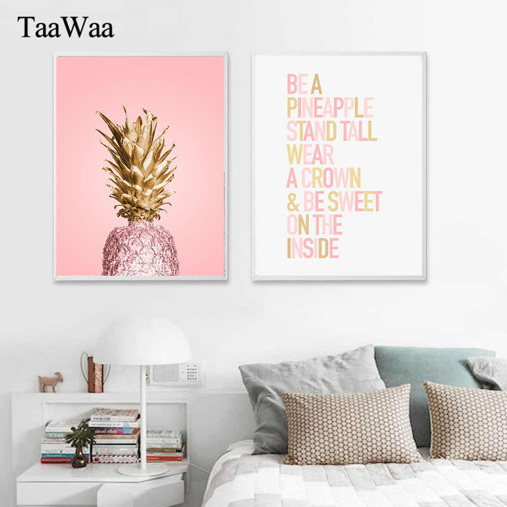 TAAWAA Pink Gold Pineapple Poster Quote Wall Art Canvas Painting Print Decorative Picture for Women Bedroom Modern Home Decor